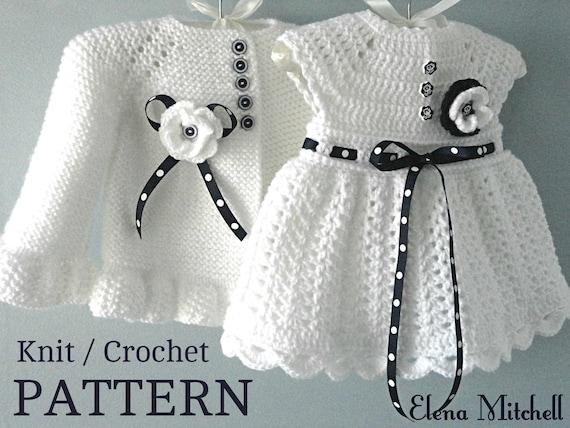 Knitting PATTERN Baby Jacket Crochet PATTERN Baby Dress Baby   Etsy