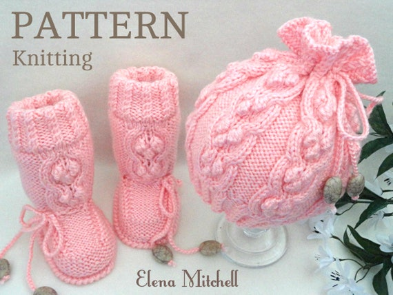 Knitting Pattern Baby Set Knitting Patterns Baby Shoes Baby Etsy