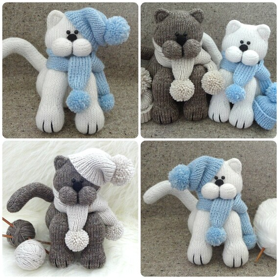Knitting Pattern Animal Cat Knitted Cat Toys Patterns Children Toy
