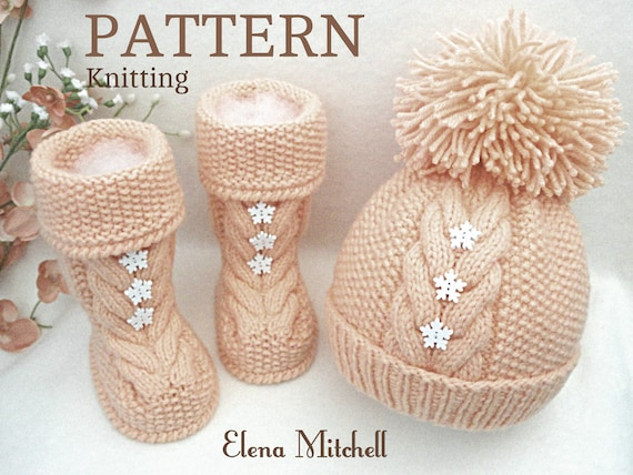 Knitting Pattern Baby Hat Baby Shoes Baby Booties Knitted Baby Etsy