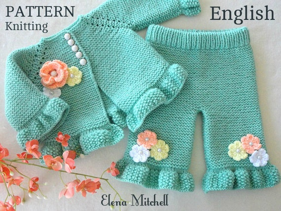 Knitting Pattern Baby Cardigan Baby Pants Baby Girl Outfit Etsy