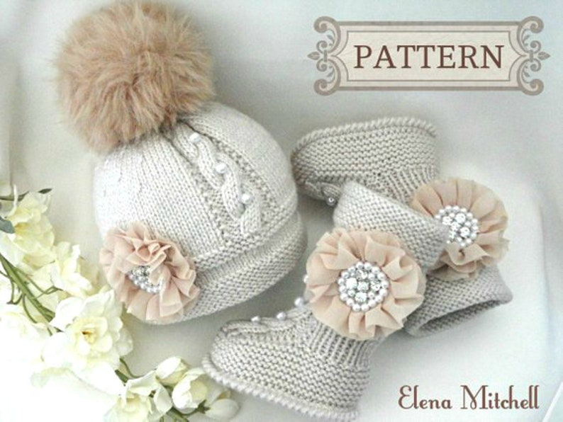 Knitting PATTERN Baby Set Newborn Baby Hat Baby Shoes Baby Ugg  622cdd9edd3