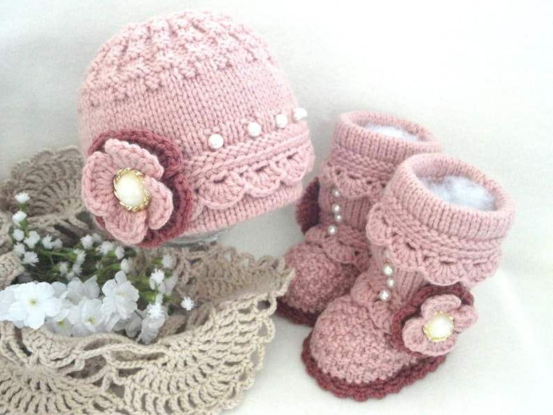 Knitting PATTERN Baby Girl Baby Hat Baby Booties Baby Beanie Baby Girl Outfit Pattern Infant Shoes Baby Shoes Baby Cap Baby Set PATTERN