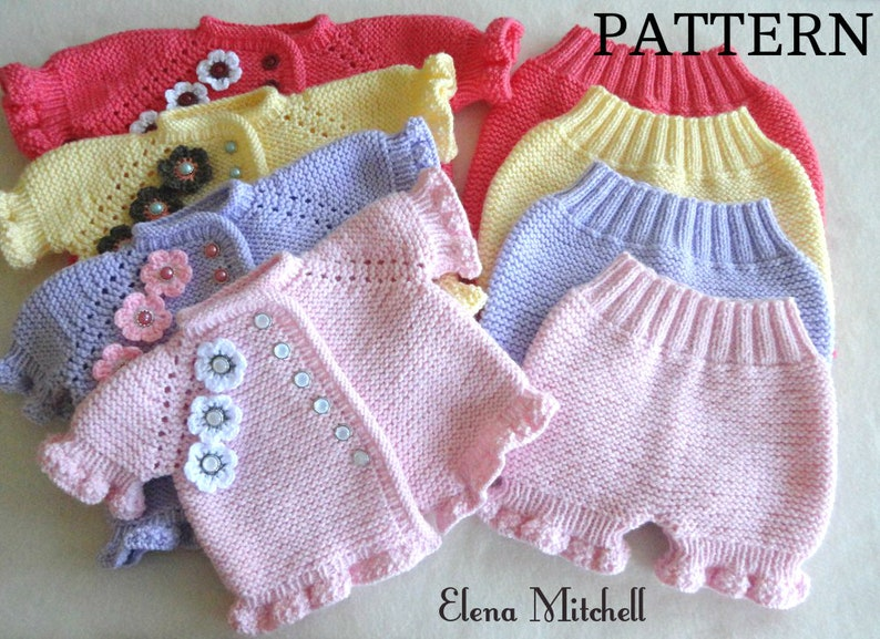 Knitting Pattern Baby Girl Jacket Knitted Baby Bloomers Etsy