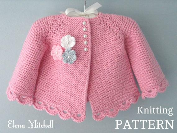 Knitting Pattern Baby Jacket Baby Cardigan Garter Stitch Knit Etsy
