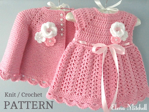 Knitting Pattern Baby Jacket Crochet Pattern Baby Dress Baby Etsy