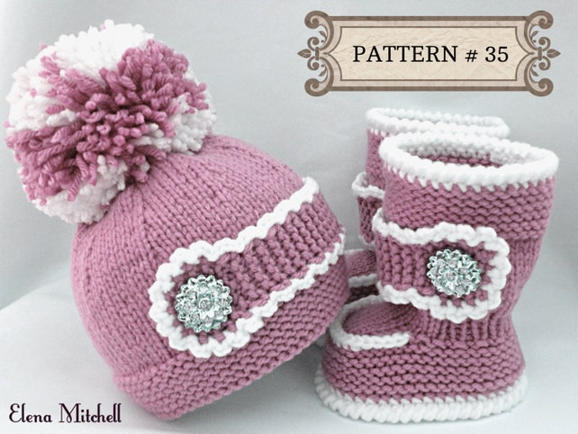 Knitting Pattern Baby Set Baby Shoes Baby Uggs Pattern Knitted Etsy