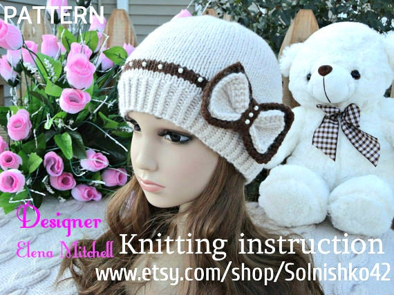 58358ecdfaf Knitting PATTERN Hat Girl Pattern Knit Womens Hat Knitted