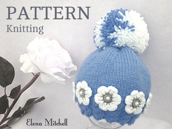 263967250 Knitting PATTERN Baby Hat Baby Girl Beanie Knitted Baby Cap