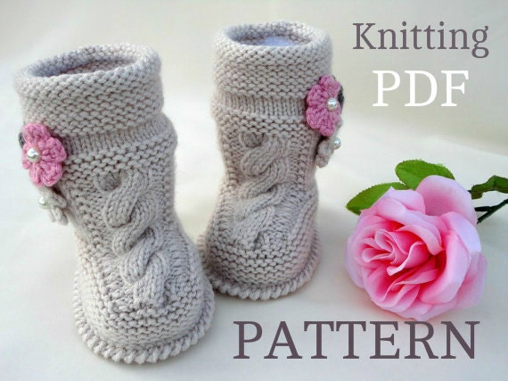 Knitting Pattern Baby Booties Baby Girl Shoes Pattern Knitted Etsy