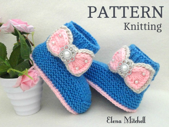 Knitting Pattern Baby Shoes Baby Booties Knitted Baby Booty Etsy