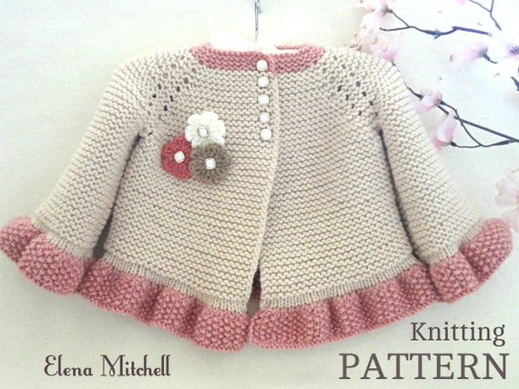 01c7bda20 Knitting PATTERN Baby Jacket Baby Cardigan Garter Stitch Knit