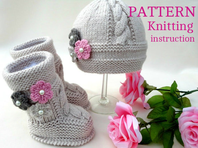 Knitting PATTERN Baby Hat Baby Beanie Baby Booties Baby Shoes image 0
