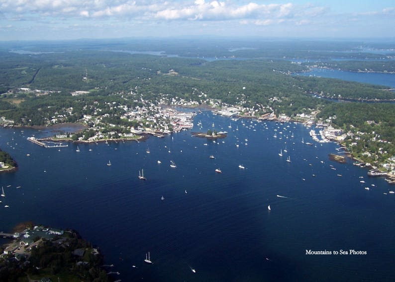 Aerial photo, Boothbay Harbor, 5x7 print, midcoast Maine, conversation  starter, desk decor, Maine photography, small space wall art