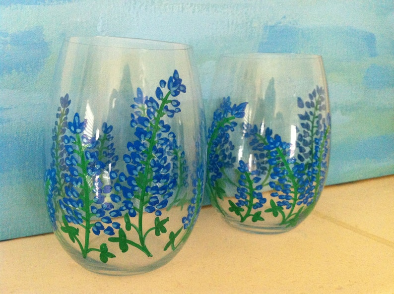 Hand Painted Texas Bluebonnet Stemless Wine Glasses set of 2