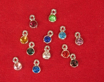 """12pc set """"birthstones"""" charms in antique silver style (BC1104)"""