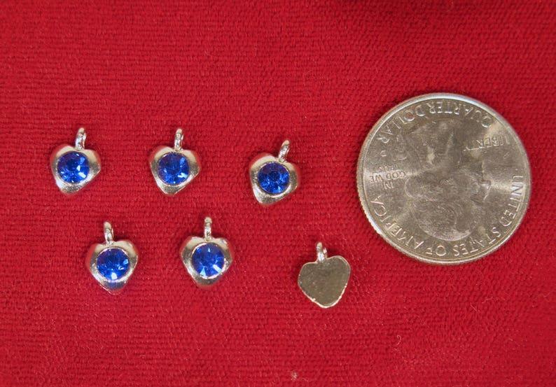 BC1346B 50pc blue sapphire heart rhinestone charms in antique silver style BULK