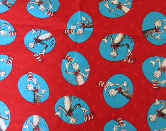 "1/2 yard of 100% cotton ""Cat in the hat"" Fabric"