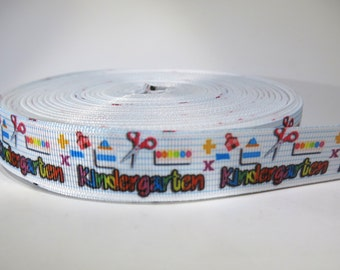 "5 yards of 7/8 inch ""Kindergarten"" grosgrain ribbon"