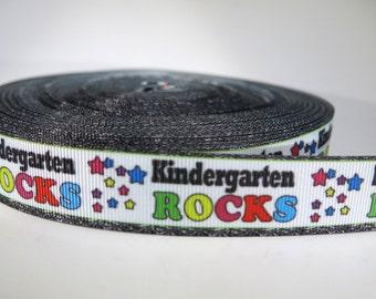"5 yards of 7/8 inch ""Kindergarten rocks"" grosgrain ribbon"