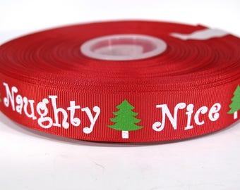 "5 yards of 7/8 inch glitter ""Naughty Nice"" grosgrain ribbon"