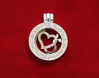 "1pc ""heart"" rhinestone locket charm (LC7)"