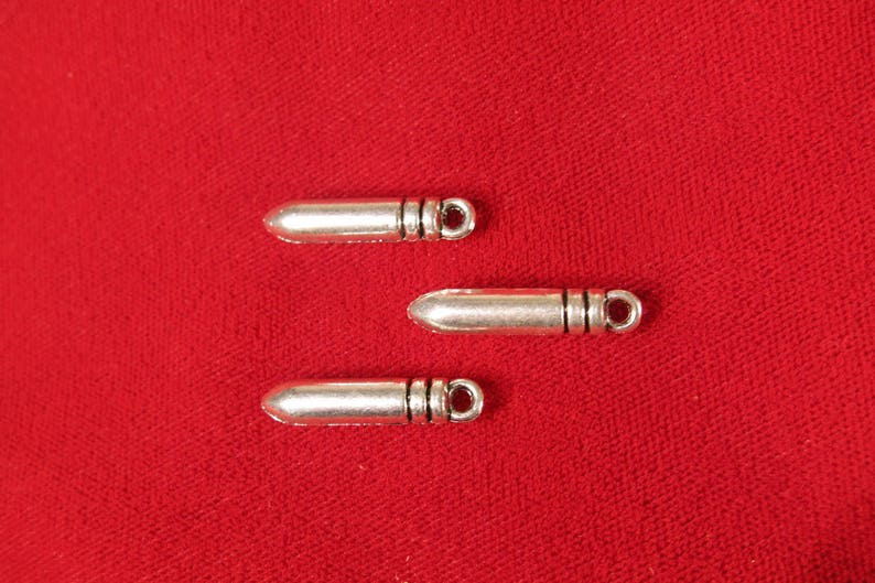 BULK BC533B 30pc bullet charms in antique silver style