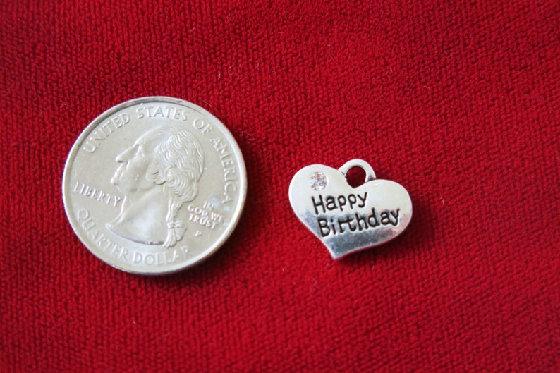 717dec0c2 BULK 15pc Happy birthday charms in antique silver | Etsy