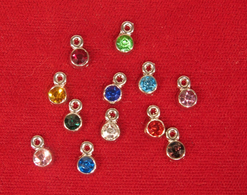 12pc set birthstones charms in antique silver image 0
