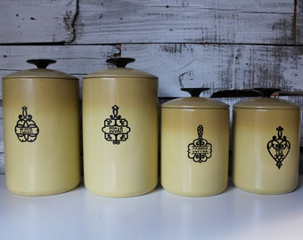 Canister Set, 1950's Gold Canister Set, Vintage West Bend Yellow Kitchen Canister Set, Flour Sugar Tea Coffee Canister Set, Mid-Century Set