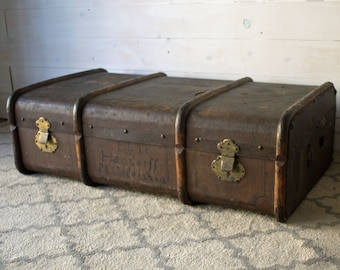 Antique Bentwood Steamer Trunk, Rare Wood Steamer Trunk Suitcase, Wood and Leather Antique Luggage, Antique Bentwood Luggage, Photo Prop