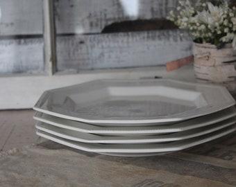 Ironstone Dinner Plates / Set of Four Vintage Ironstone Dinner Plates / Johnson Brothers Octagon Ironstone Plate / Vintage Ironstone Dinner