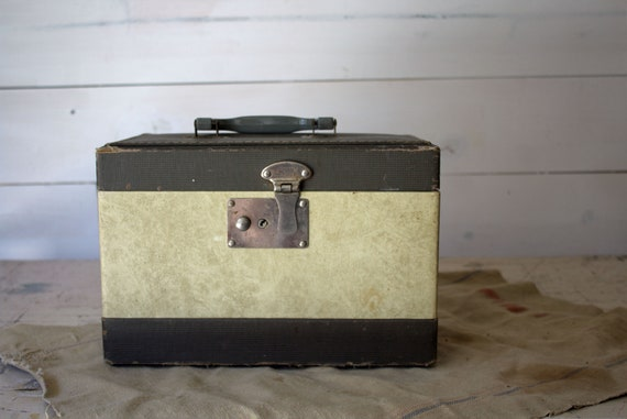 Vintage Train Case, Green and White Striped Vintag