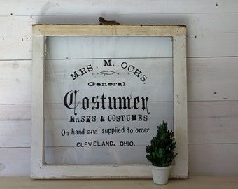 Upcycled Vintage Window Sign, Vintage Ohio Shop Window Sign, Small Square White Salvaged Window Frame for Decor, Home Decor Window Hanging