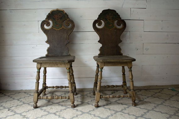 image 0 - Pair Of Antique Hall Chairs Victorian Wooden Hall Chairs Etsy