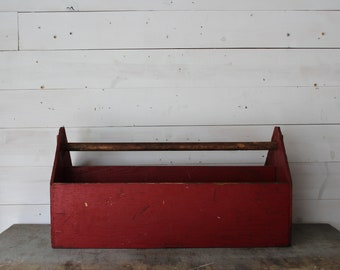 Large Vintage Wooden Tool Box, Rustic Carpenter Wood Tool Box, Handmade Primitive Chippy Red Tote, Rustic Home Decor, Rustic Wedding Decor