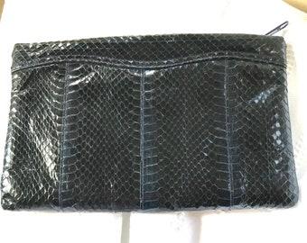 Vintage Clemente Brown Snakeskin Clutch
