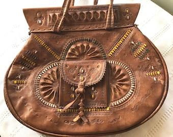 Vintage Leather Hand Tooled Moroccan Boho Handbag