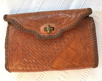 Vintage Hand Tooled Leather Small Clutch 0f625dd96a889