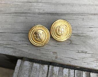 Vintage LCI 1980's Gold Tone Crest Button Style Pierced Earrings