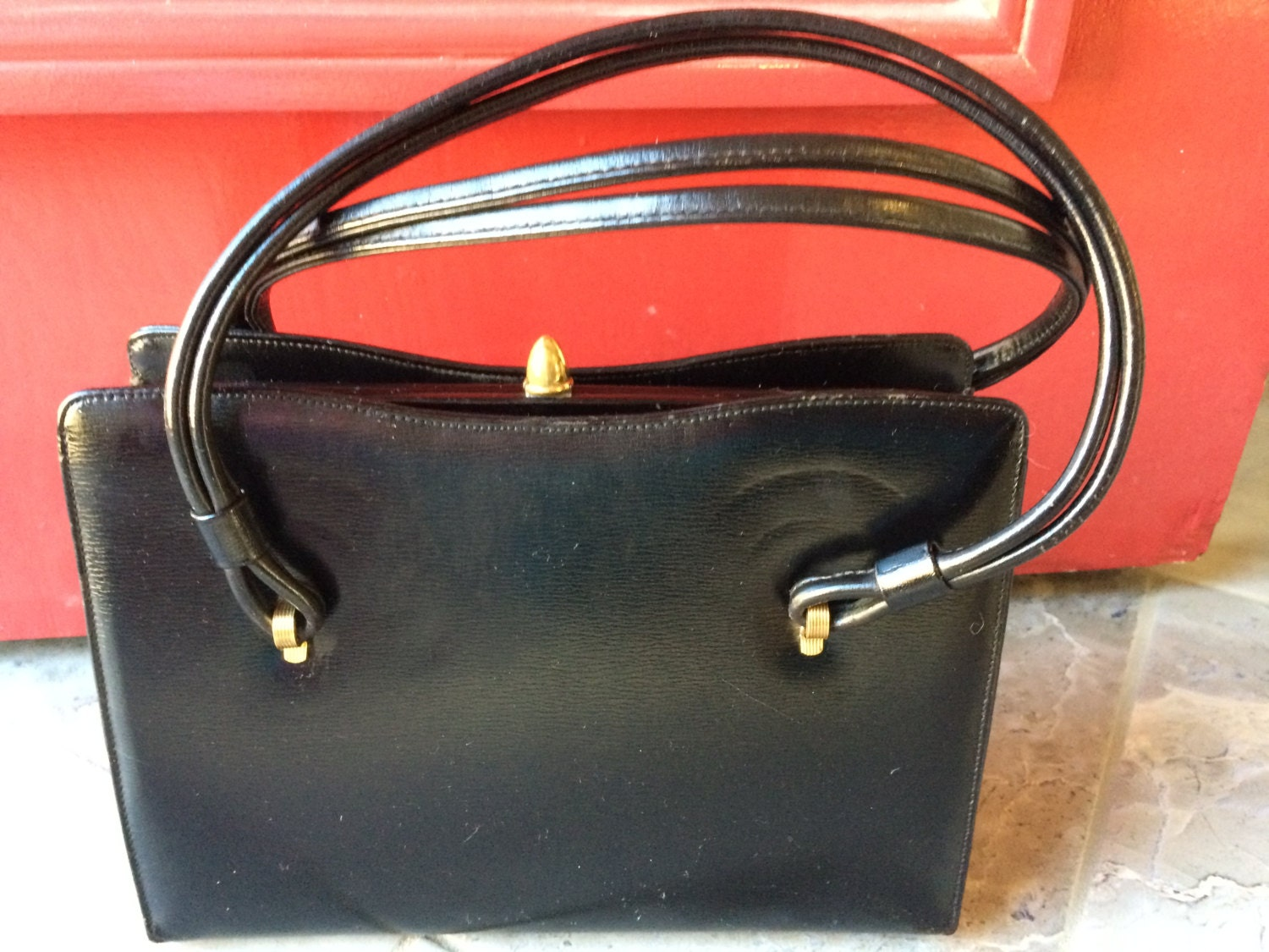 35e2cc7bd550 Vintage Susan Gail Original Black Kelly Handbag