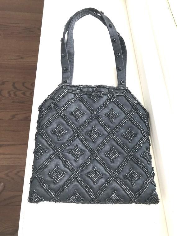 a849c7239b0a Vintage Magid Black Beaded Evening Bag Purse