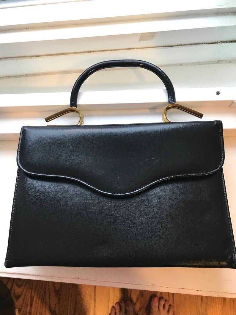04d3b343596c Vintage Handbag By Triangle New York Black Kelly With