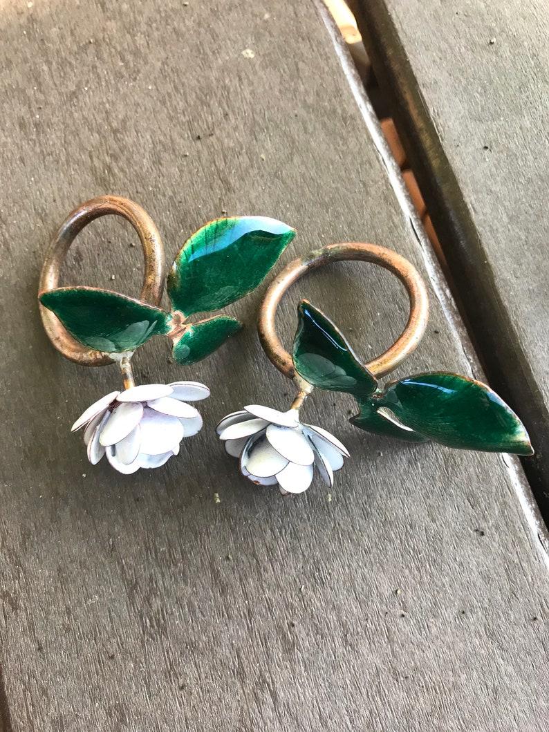 Vintage Enamel Flower Napkin Ring Holders Two 2
