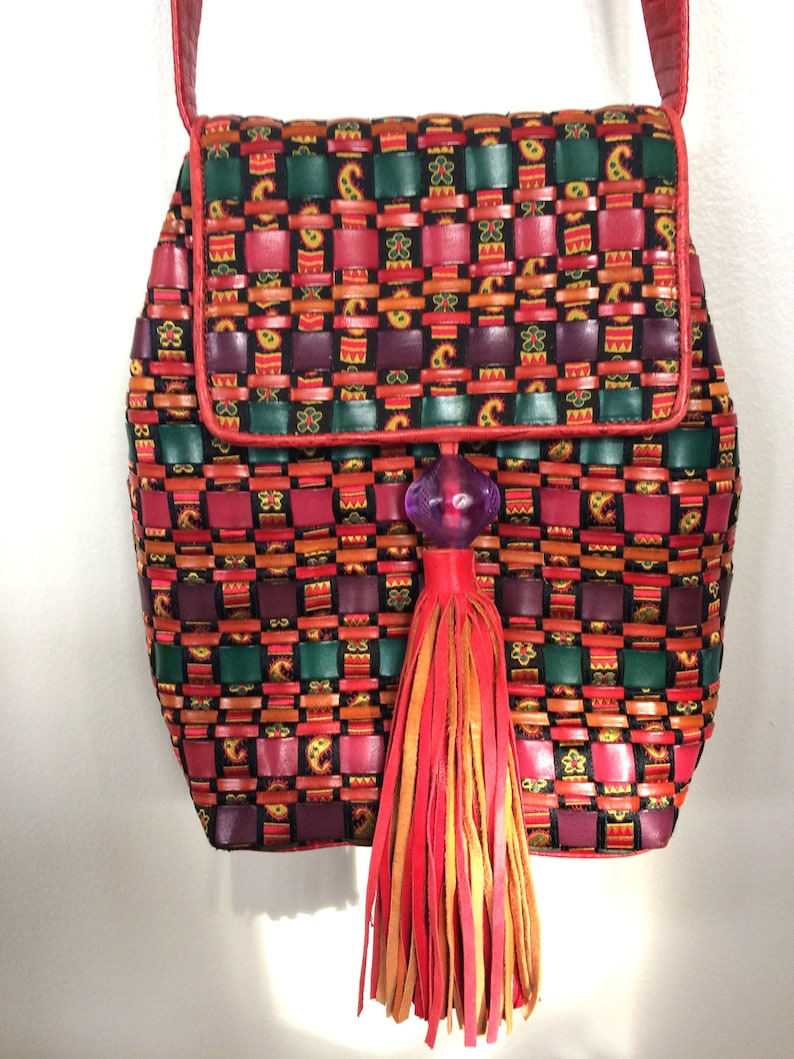 b44044aa7e6f Vintage 80 s Sharif Bright Colors Woven Patchwork Leather