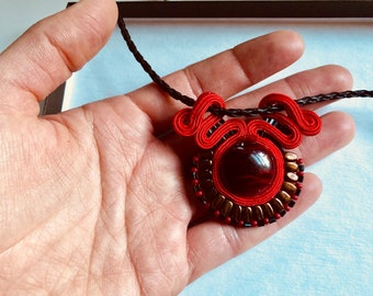 Small red pendant necklace