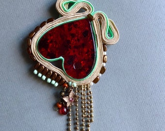 Large heart, soutache pendant