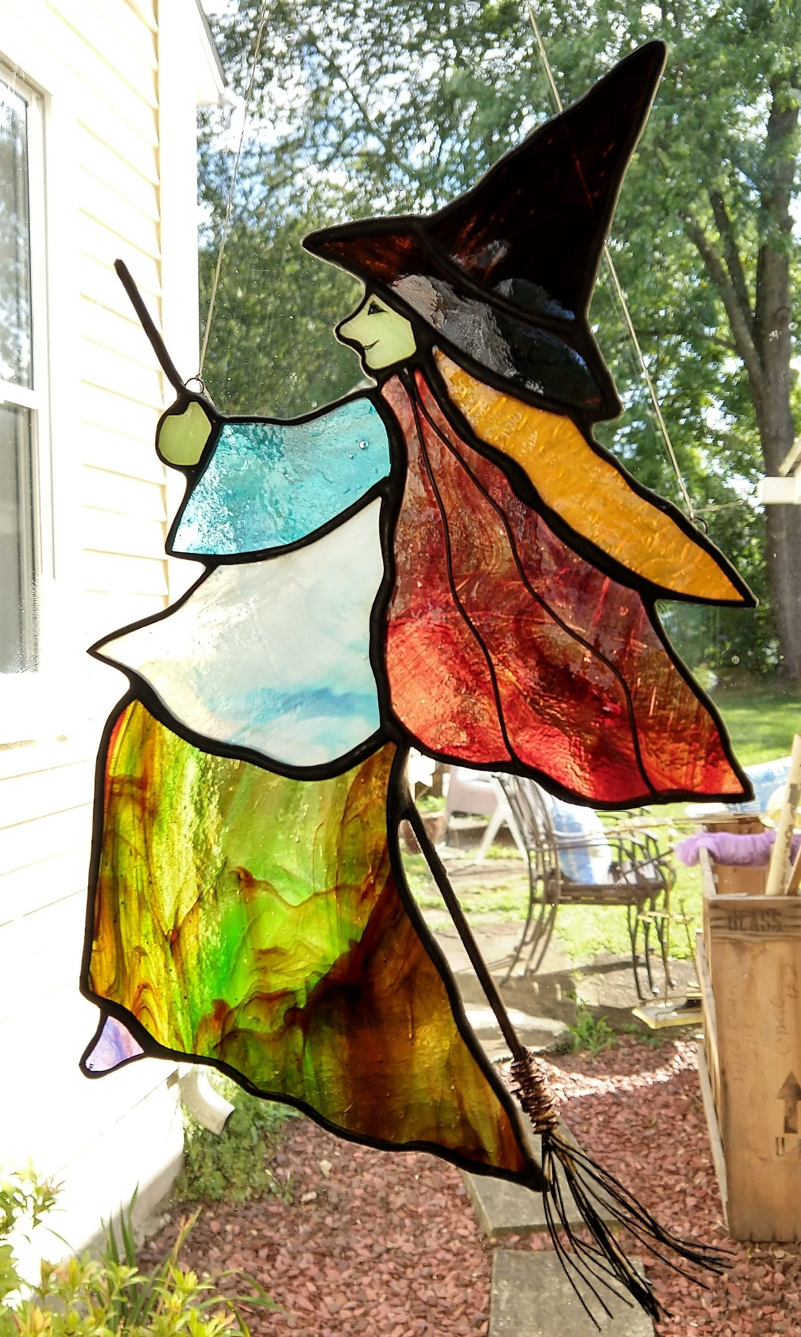 Halloween Witch Stained Glass Suncatchers