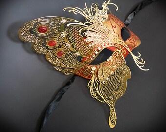 Masquerade Mask, Butterfly Mask, Masquerade Ball Mask, [Red/Gold], Mardi Gras Mask