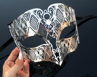 Silver Men's Masquerade Mask - Mens Mask, Silver Masquerade Mask, Metal Mask, Masquerade Ball Mask, Roman Mask